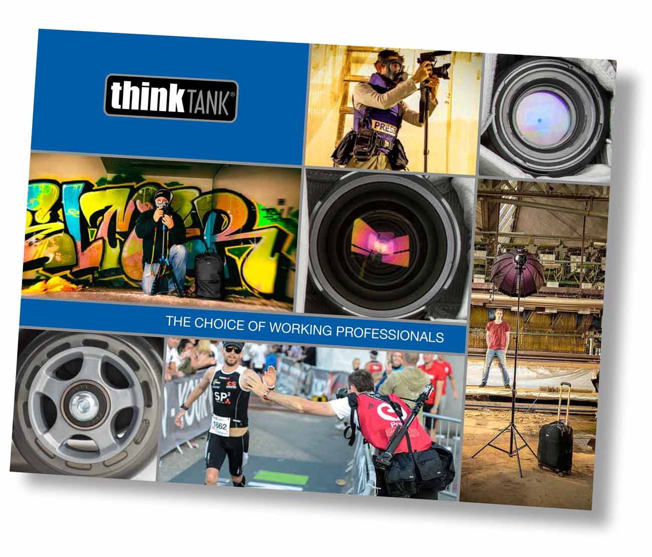 The latest product catalogue for ThinkTank photo features the image page right.