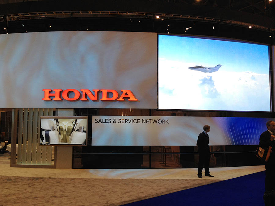 Assets being used on the HondaJet show stand in Geneva
